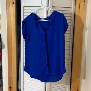 Sheer, royal blue, shirt,